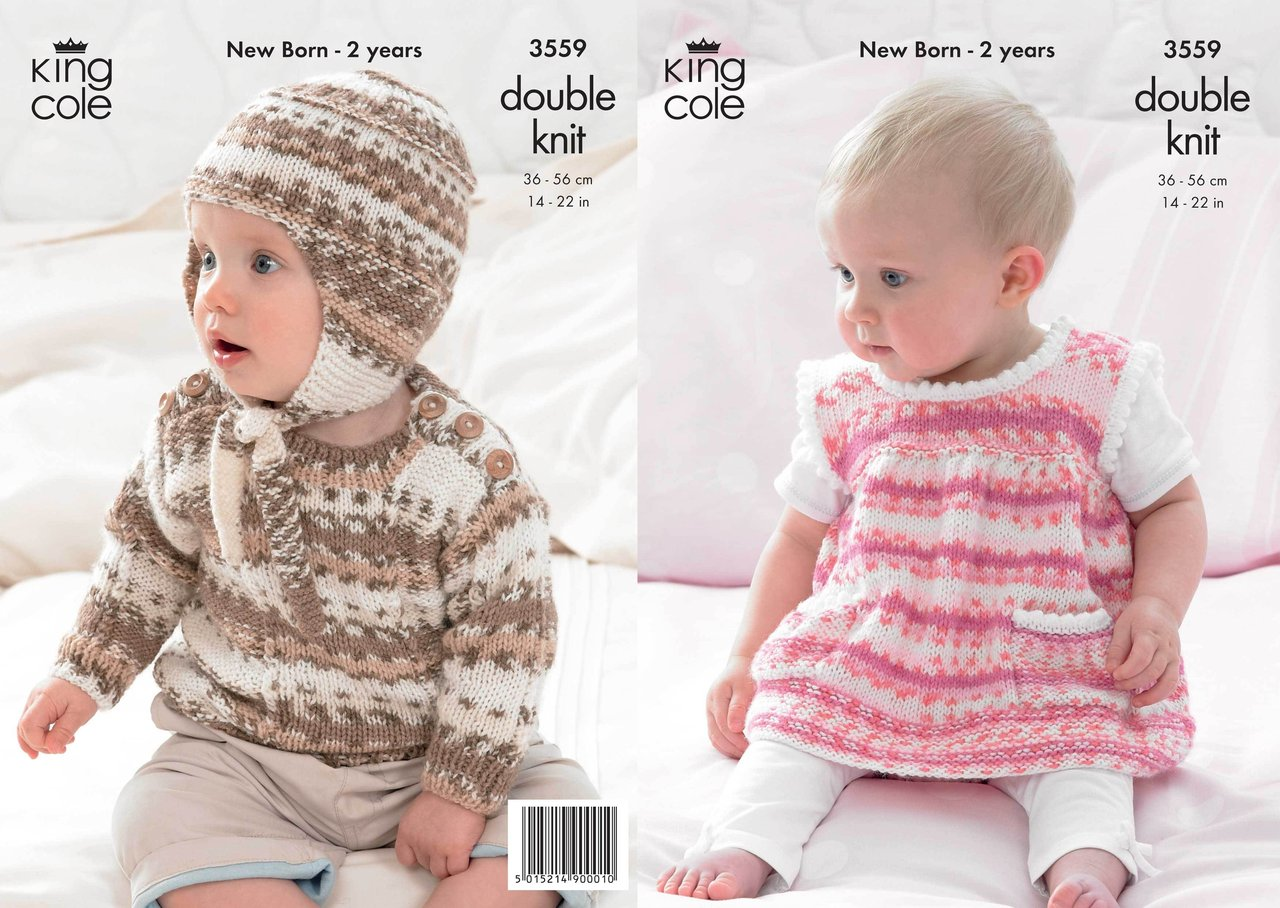 Knitting Pattern King Cole : King Cole 3559 Knitting Pattern Dress, Sweater, Hat in ...