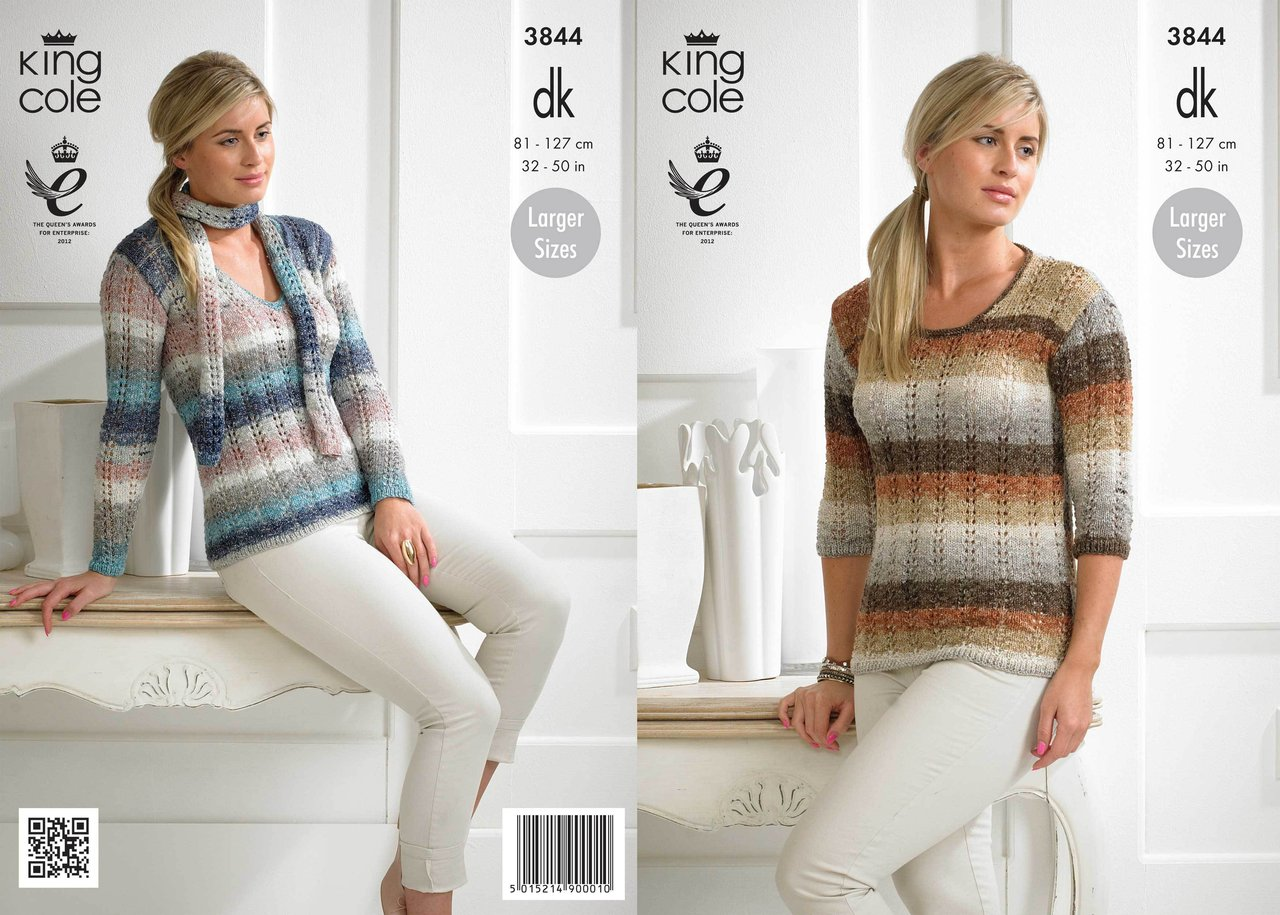 Knitting Pattern King Cole : King Cole 3844 Knitting Pattern Ladies Sweater and Scarf ...
