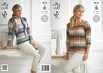 King Cole 3844 Knitting Pattern Ladies Sweater and Scarf in King Cole Shine DK