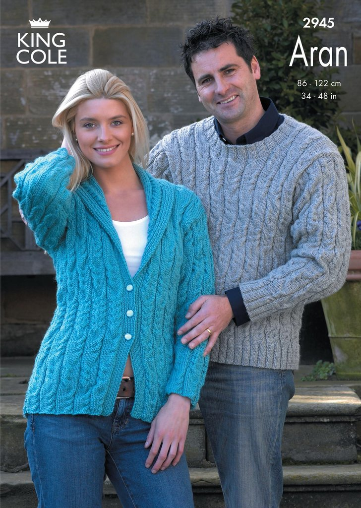 King Cole 2945 Knitting Pattern Sweater and Jacket Knitted in King Cole Fashi...