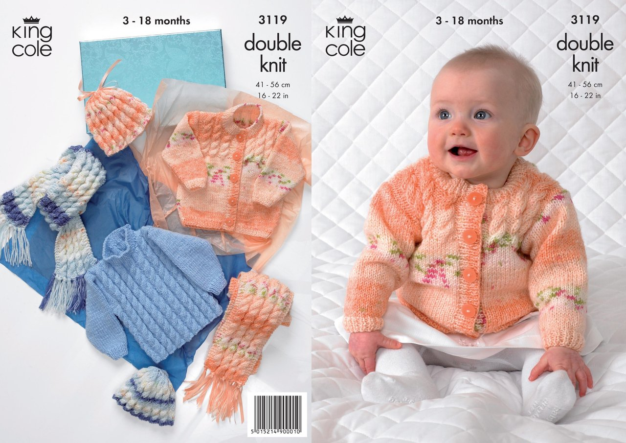 King Cole 3119 Knitting Pattern Sweater, Cardigan, Hat and Scarf in King Cole...