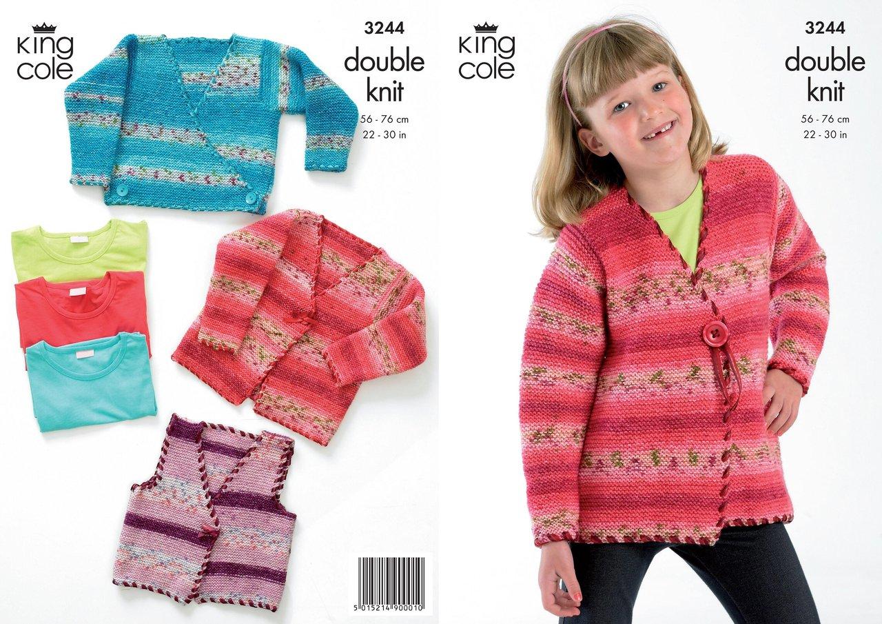 King Cole 3244 Knitting Pattern Cardigans in King Cole Splash DK - Athenbys