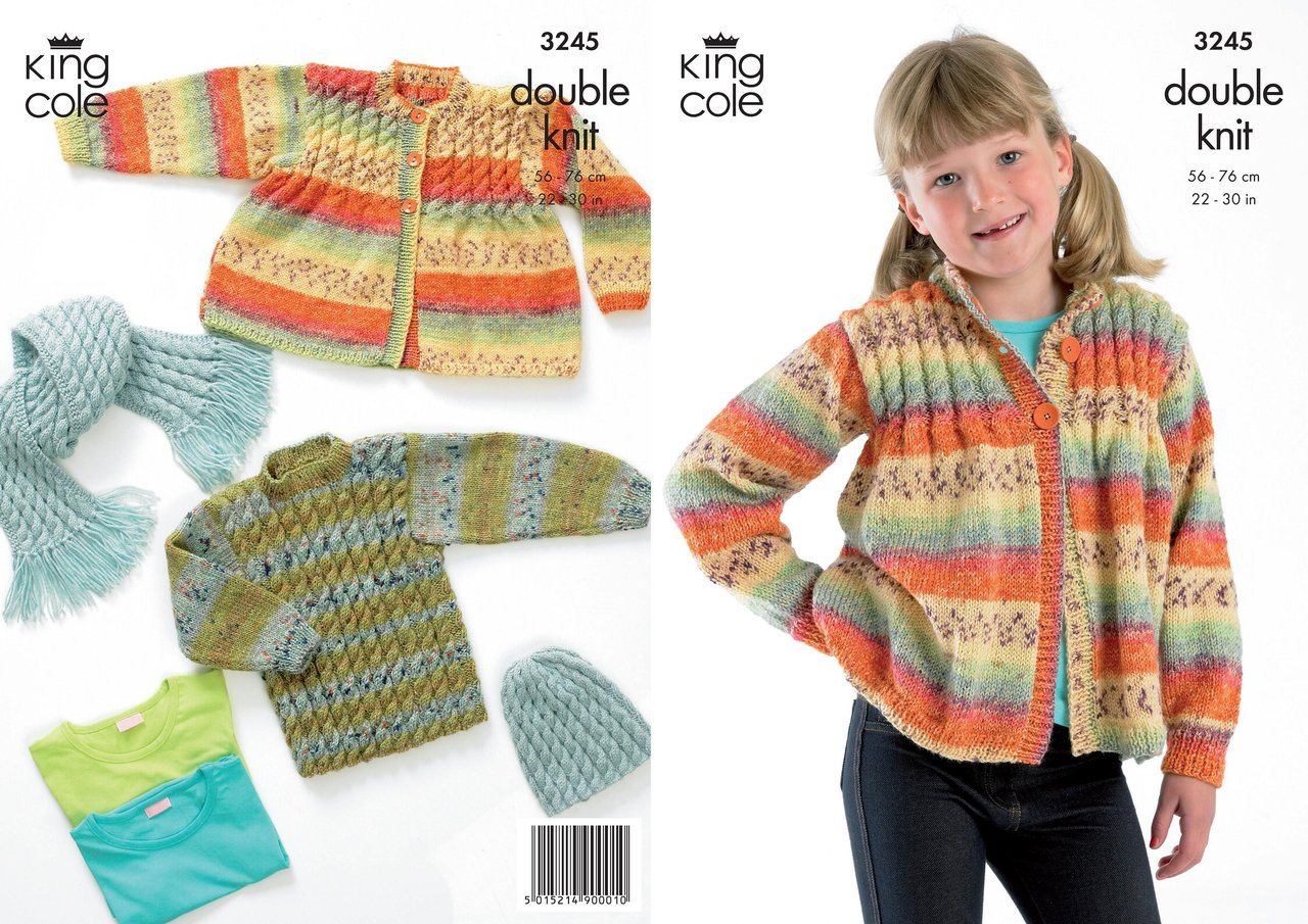 King Cole 3245 Knitting Pattern Sweater, Cardigan, Hat & Scarf in King Co...