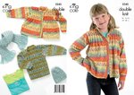 King Cole 3245 Knitting Pattern Sweater, Cardigan, Hat & Scarf in King Cole DK
