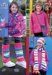 King Cole 3446 Knitting Pattern Girl's Hat, Scarves, Gloves, Bag & Legwarmers in King Cole DK