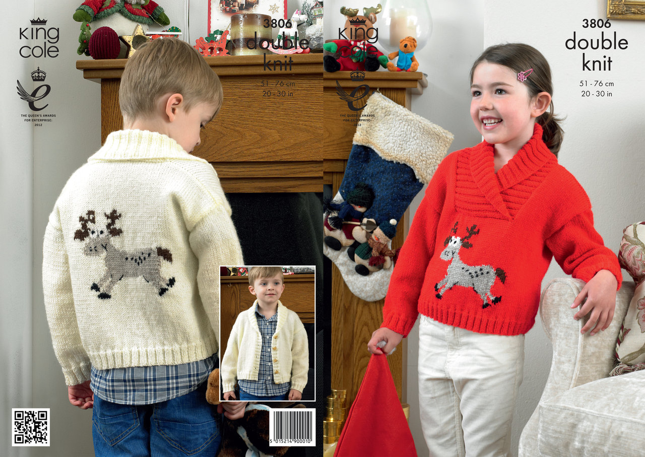 Knitting Patterns For Children s Christmas Jumpers : King Cole 3806 Knitting Pattern Childrens Reindeer Christmas Sweaters in Pric...