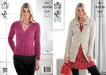 King Cole 3933 Knitting Pattern Womens Jacket and Sweater in King Cole Moods Duet DK