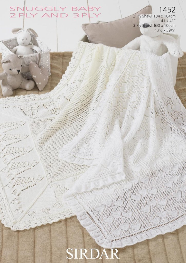 2 Ply Baby Knitting Patterns : Sirdar 1452 Knitting Pattern Baby Shawls in Sirdar Snuggly 2 Ply and 3 Ply - ...