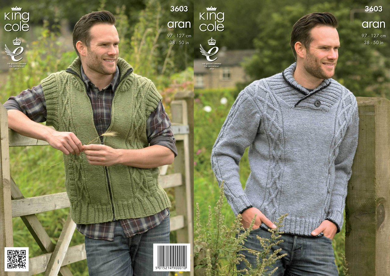 King Cole 3603 Knitting Pattern Sweater and Gilet in King Cole Big Value Aran...