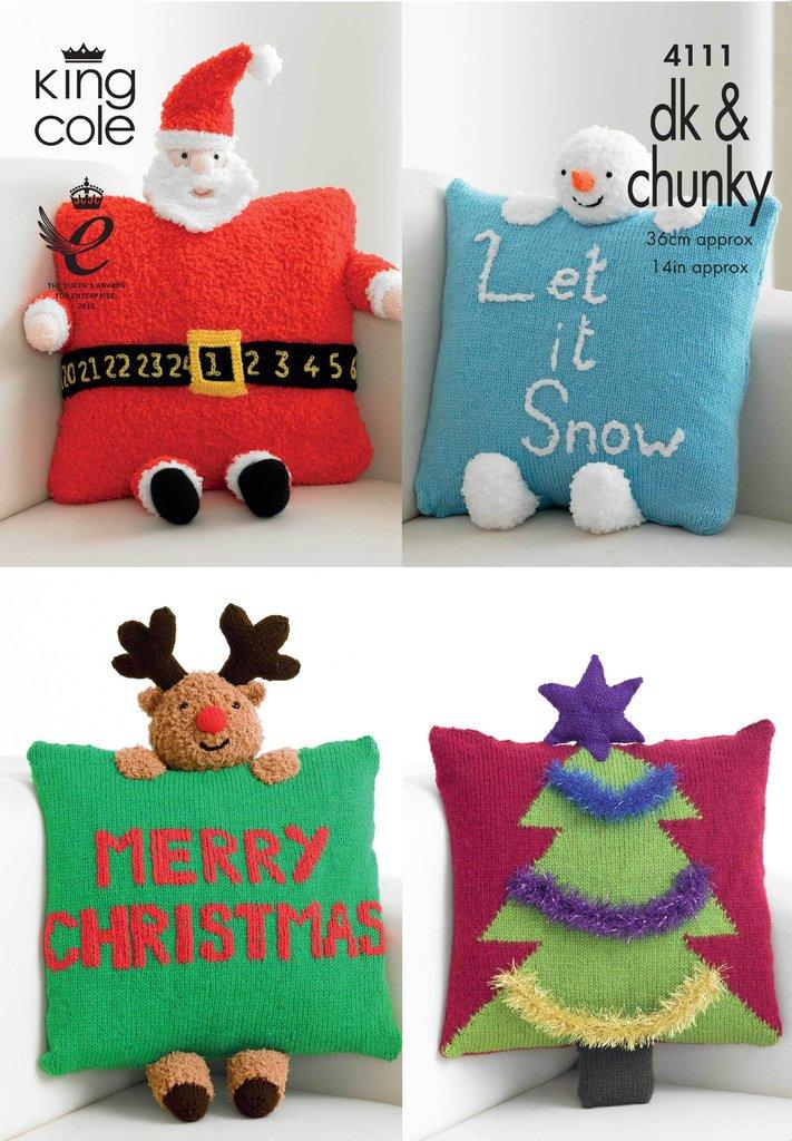 Novelty Knitting Pattern Books : King Cole 4111 Knitting Pattern Christmas Novelty Cushions in King Cole DK &a...