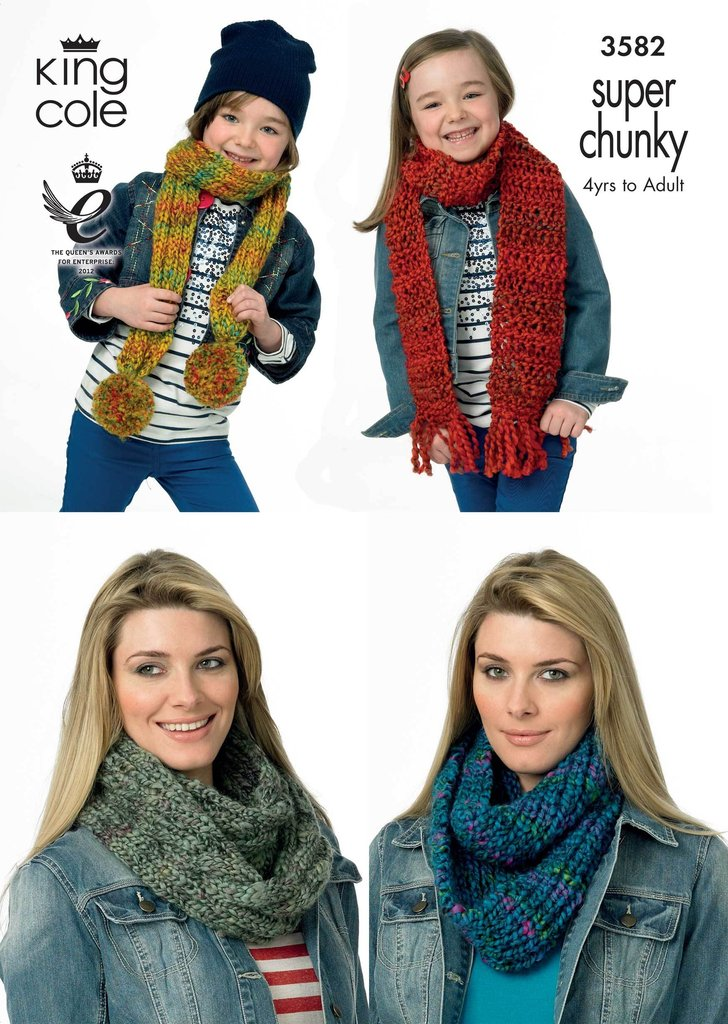 King Cole 3582 Knitting Pattern Snoods and Scarves in King Cole Gypsy Super C...