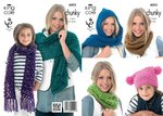 King Cole 4092 Knitting Pattern Snoods, Scarves, Shawl and Hat in King Cole Big Value Chunky