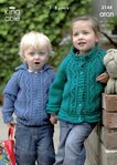 King Cole 3144 Knitting Pattern Girl's 3/4 Sleeve Jacket and Boy's Cardigan in Merino Blend Aran