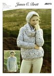 James C Brett JB273 Knitting Pattern Sweater, Snood and Hat in James C. Brett Rustic Mega Chunky