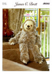 James C Brett JB282 Knitting Pattern Laid Back Larry Sloth in Faux Fur