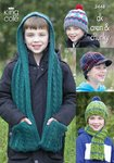King Cole 3448 Knitting Pattern Boy's Hats, Scarf & Hooded Scarf in King Cole DK, Aran and Chunky