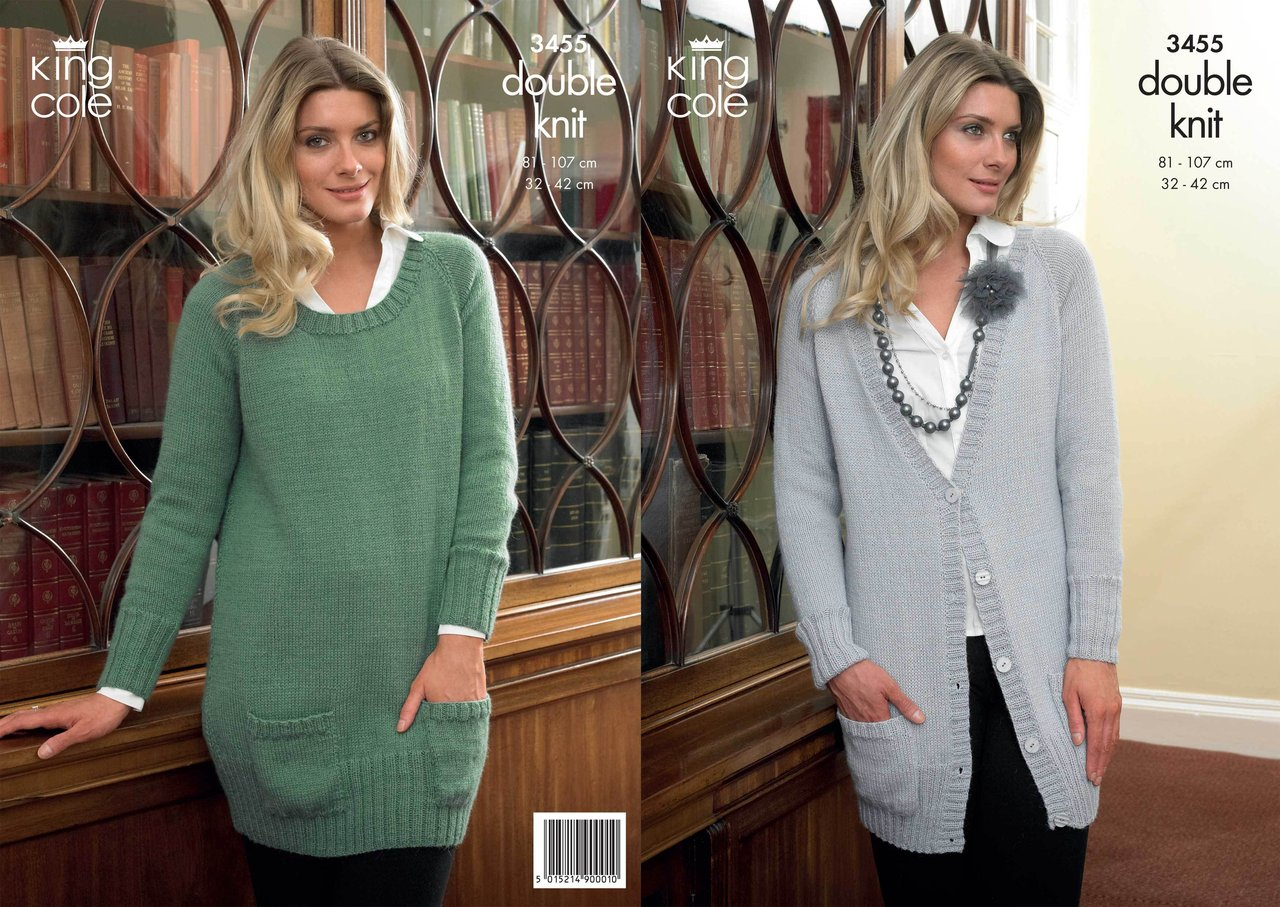 63c55cbf593d King Cole 3455 Knitting Pattern Cardigan and Sweater in King Cole ...