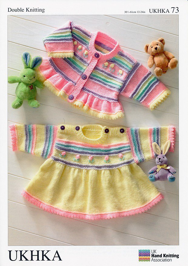 Ukhka 73 Knitting Pattern Baby Dress And Cardigan In Baby Dk Athenbys