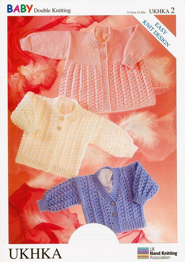 0c1a3a7c5d59 UKHKA 2 Knitting Pattern Cardigans   Matinee Coat in Baby DK - Athenbys