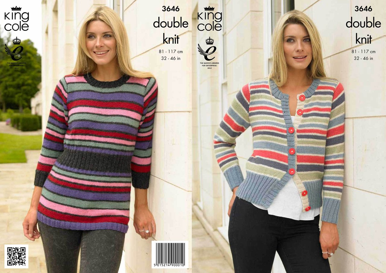 2d3b59c04 king cole 3646 knitting pattern sweater and cardigan in baby alpaca dk