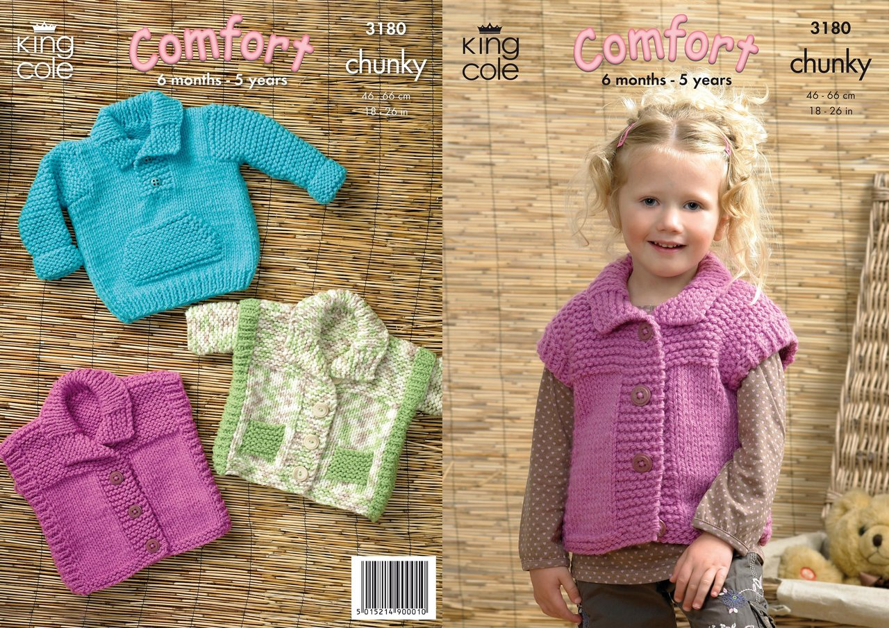Knitting Pattern For Childs Chunky Cardigan : King Cole 3180 Knitting Pattern Sweater, Gilet and Jacket in King Cole Comfor...