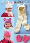 King Cole 3497 Knitting Pattern Hats, Mitts and Scarves in King Cole Cuddles Chunky