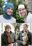King Cole 3445 Knitting Pattern Men's Hats, Balaclava, Scarves & Hats in DK, Aran and Chunky