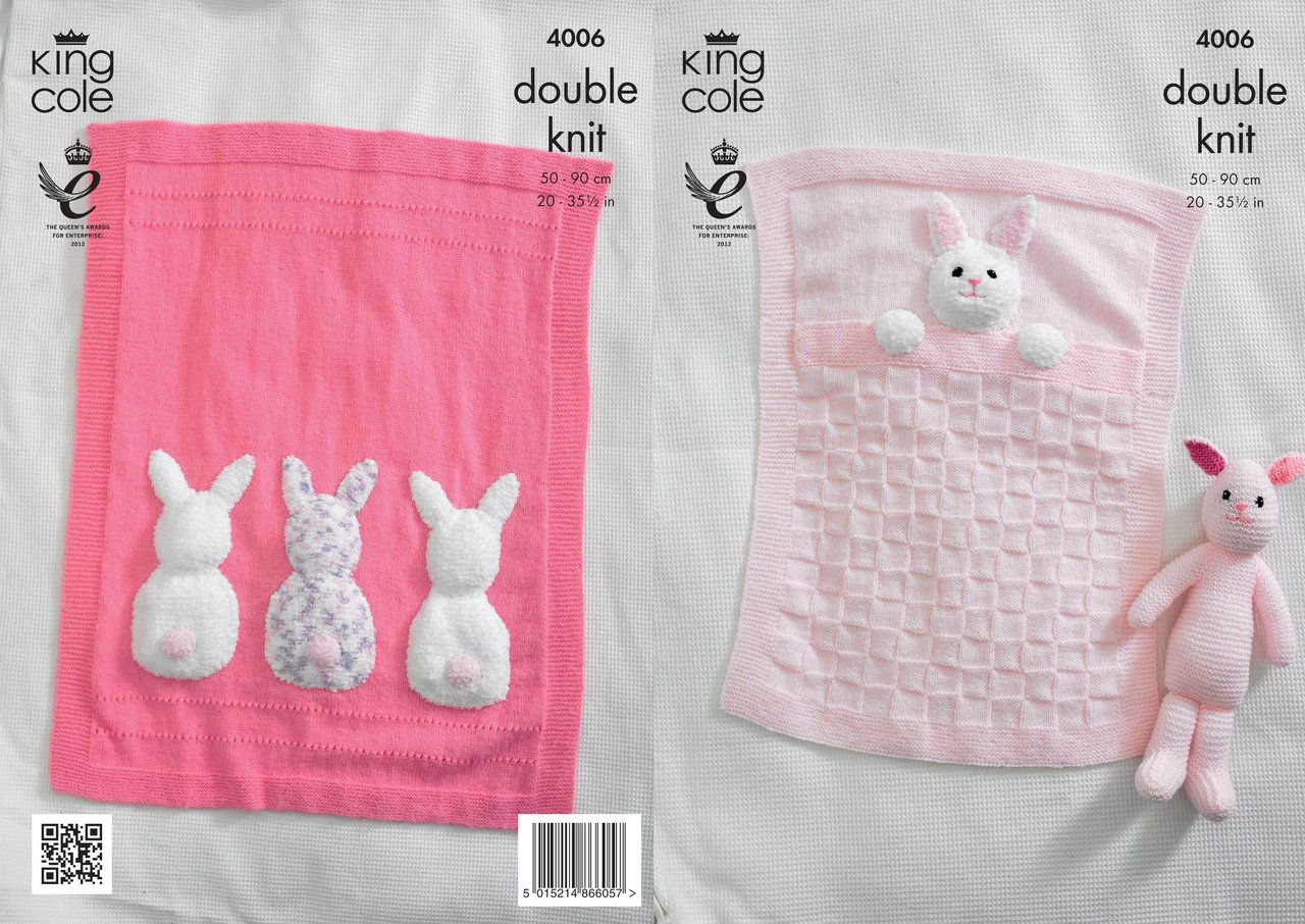Bunny Blanket Knitting Pattern : King Cole 4006 Knitting Pattern Baby Blankets and Bunny Rabbit Toy in King Co...