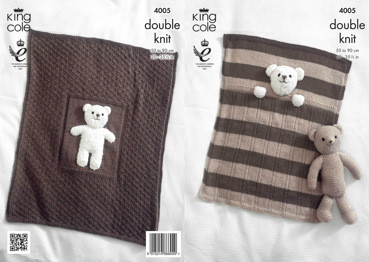 Knitting Pattern For Teddy Bear Baby Blanket : King Cole 4005 Knitting Pattern Baby Blankets and Teddy ...