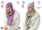 King Cole 3652 Crochet Pattern Hats & Scarves in King Cole Aran