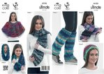 King Cole 4123 Knitting Pattern Wrap, Hat, Scarf, Cowl, Cabled Wrap and Leg Warmers
