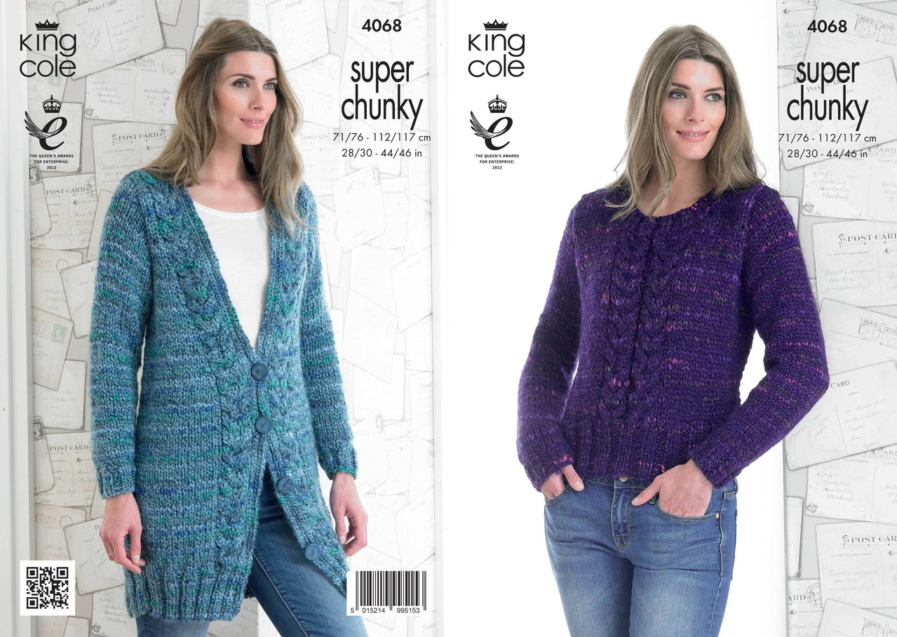 Super Chunky Jumper Knitting Pattern : King Cole 4068 Knitting Pattern Jacket and Sweater in King Cole Gypsy Super C...