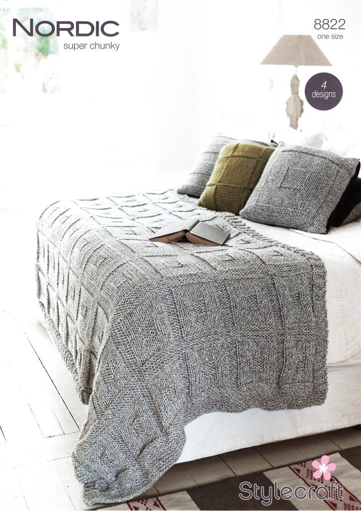 Knitting Pattern For Super Chunky Throw : Stylecraft 8822 Knitting Pattern Throw & Cushions in Stylecraft Nordic Su...
