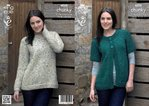 King Cole 4038 Knitting Pattern Cardigan and Sweater in Chunky Tweed