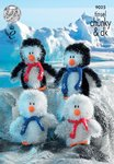 King Cole 9025 Knitting Pattern Tinsel Chunky Penguins in King Cole Tinsel Chunky