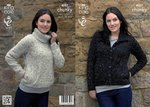 King Cole 4037 Knitting Pattern Jacket and Sweater in Chunky Tweed