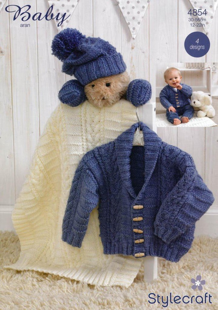 Aran Knitting Patterns For Babies : Stylecraft 4854 Knitting Pattern Jacket, Scarf, Hat, Mittens & Blanket in...