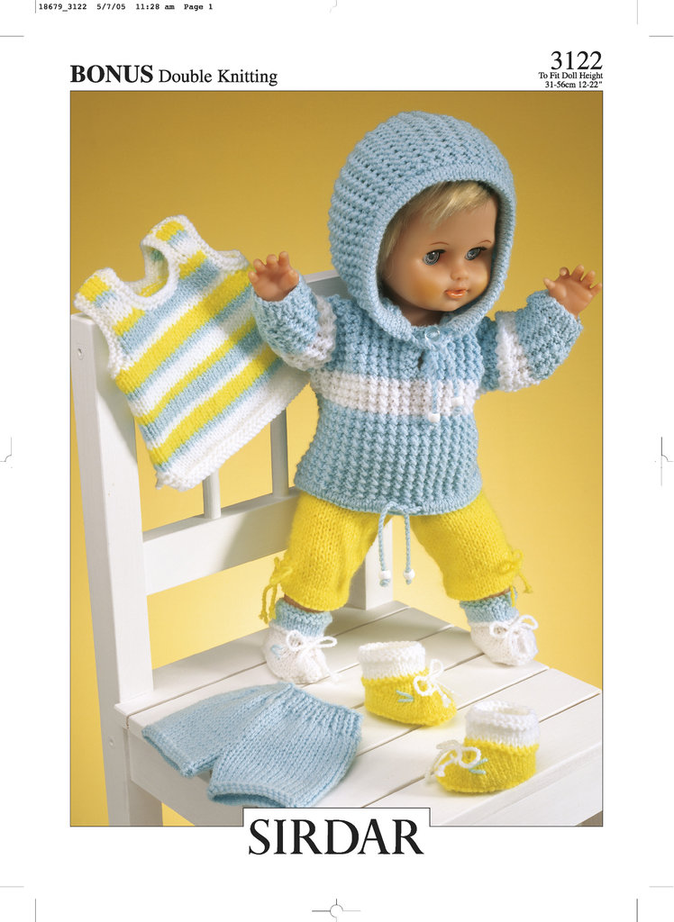 Sirdar 3122 Knitting Pattern Dolls Outfit in Hayfield Baby Bonus DK - At...