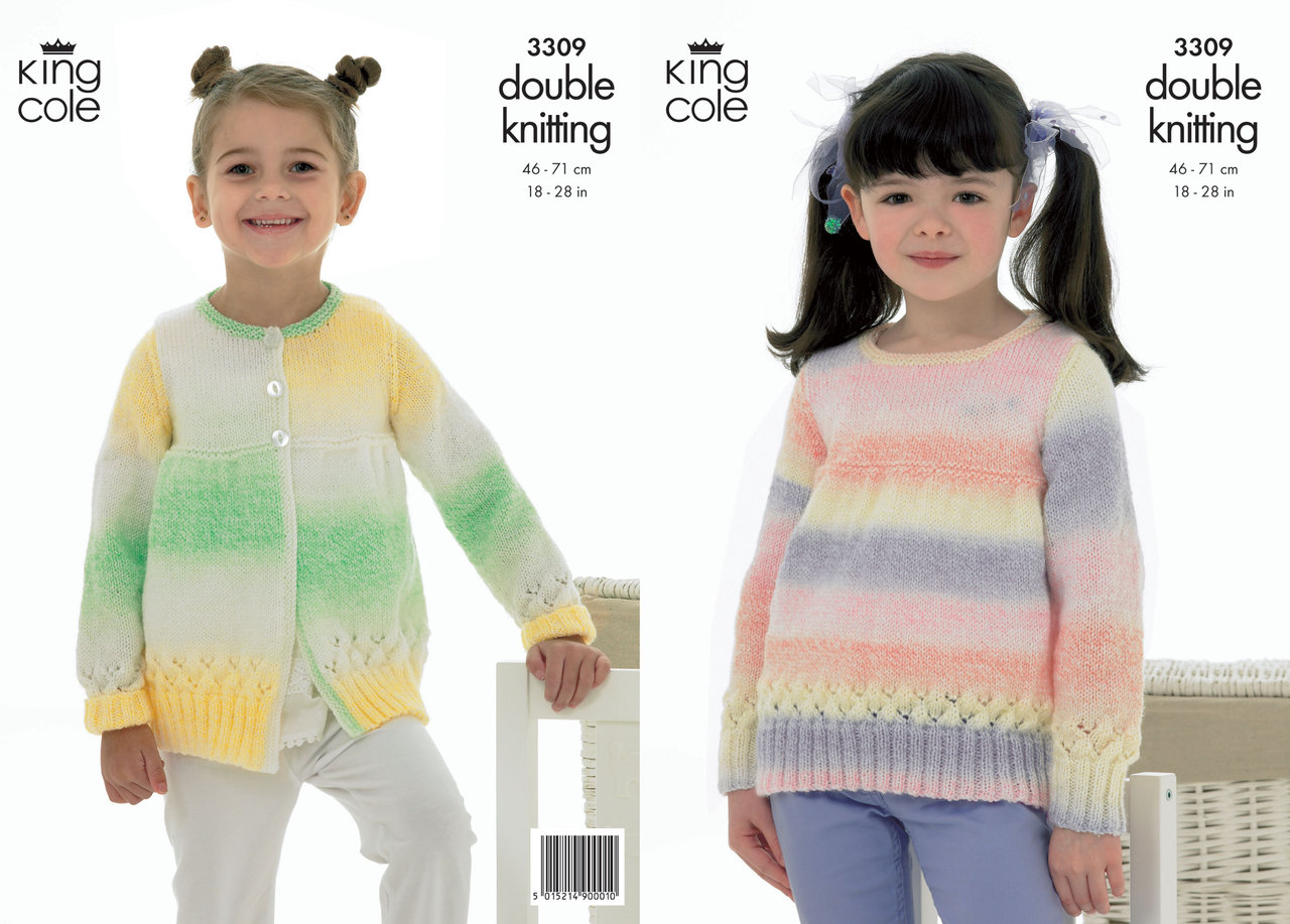 Knitting Pattern King Cole : King Cole 3309 Knitting Pattern Sweater and Cardigan in ...