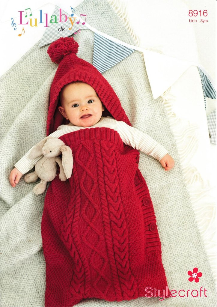 Stylecraft 8916 Knitting Pattern Babys Cocoon Sleeping Bag In