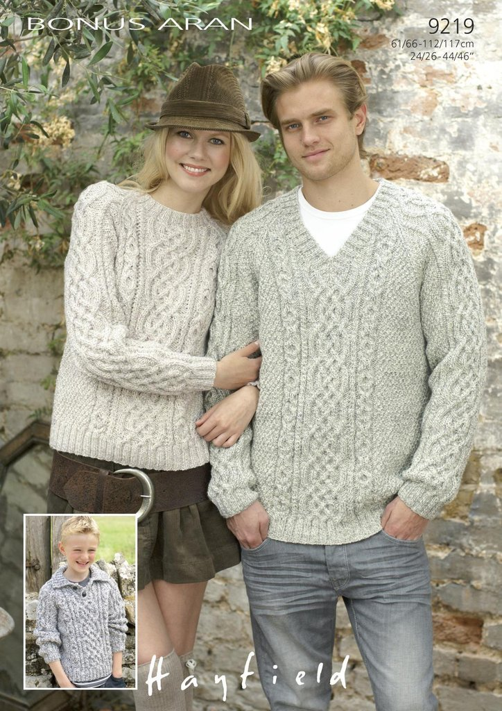Hayfield Aran Knitting Pattern Books : Sirdar 9219 Knitting Pattern Family Sweaters in Hayfield ...