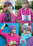 King Cole 3298 Knitting Pattern Girls Hats, Scarves, Gloves & Handwarmer in King Cole DK & Chunky