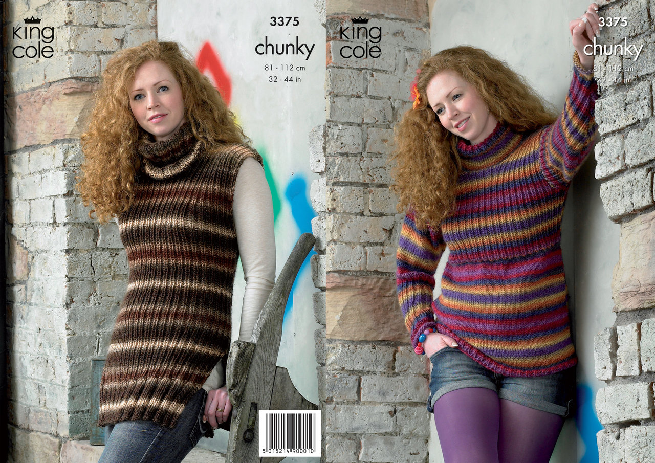 King Cole 3375 Knitting Pattern Tunics in King Cole Riot Chunky - Athenbys