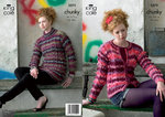 King Cole 3372 Knitting Pattern Sweater and Cardigan in King Cole Riot Chunky