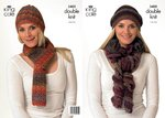 King Cole 3400 Crochet Pattern Hats and Scarves Crocheted in King Cole Riot DK