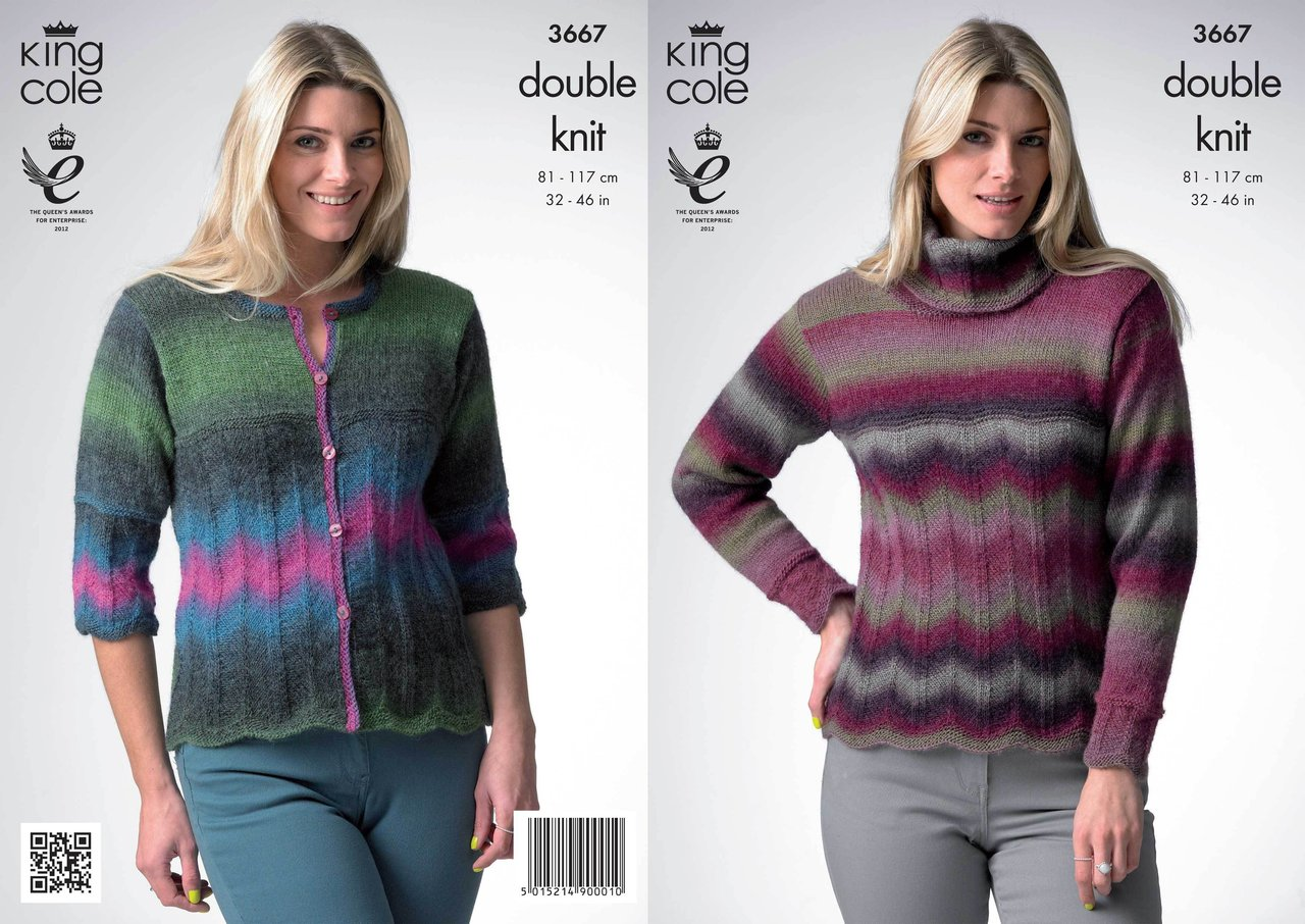 King Cole 3667 Knitting Pattern Sweater and Cardigan in King Cole Riot DK - A...