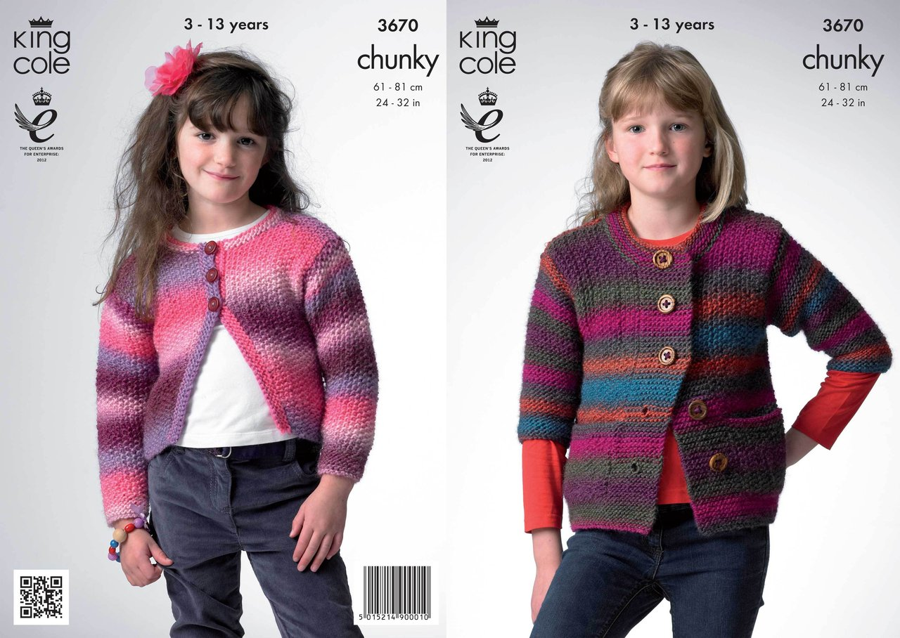 King Cole 3670 Knitting Pattern Bolero and Jacket in King Cole Riot Chunky - ...