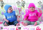 King Cole 3709 Knitting Pattern Baby Girl Boy Sweater Slipover and Hat in King Cole Pricewise DK