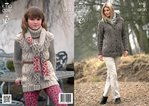 King Cole 3744 Knitting Pattern Tunic, Coat and Scarf in King Cole Fashion Aran