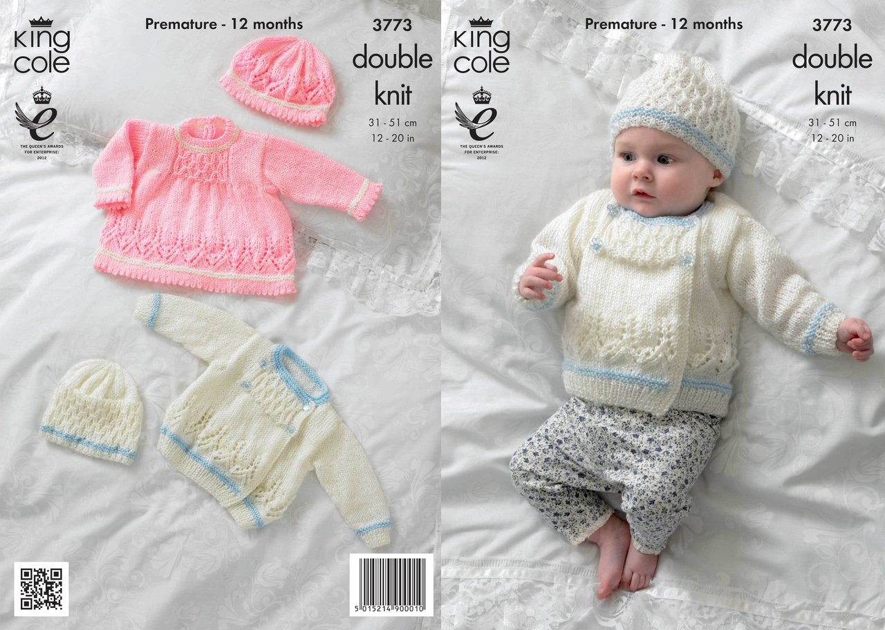 King Cole 3773 Knitting Pattern Dress, Jacket and Hats in King Cole Baby Glit...